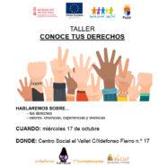 """Próximo taller """"Conoce tus derechos"""" en Puçol"""