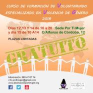 Tercera edición del curso 'Formación de Voluntariado Especializado en Violencia de Género'